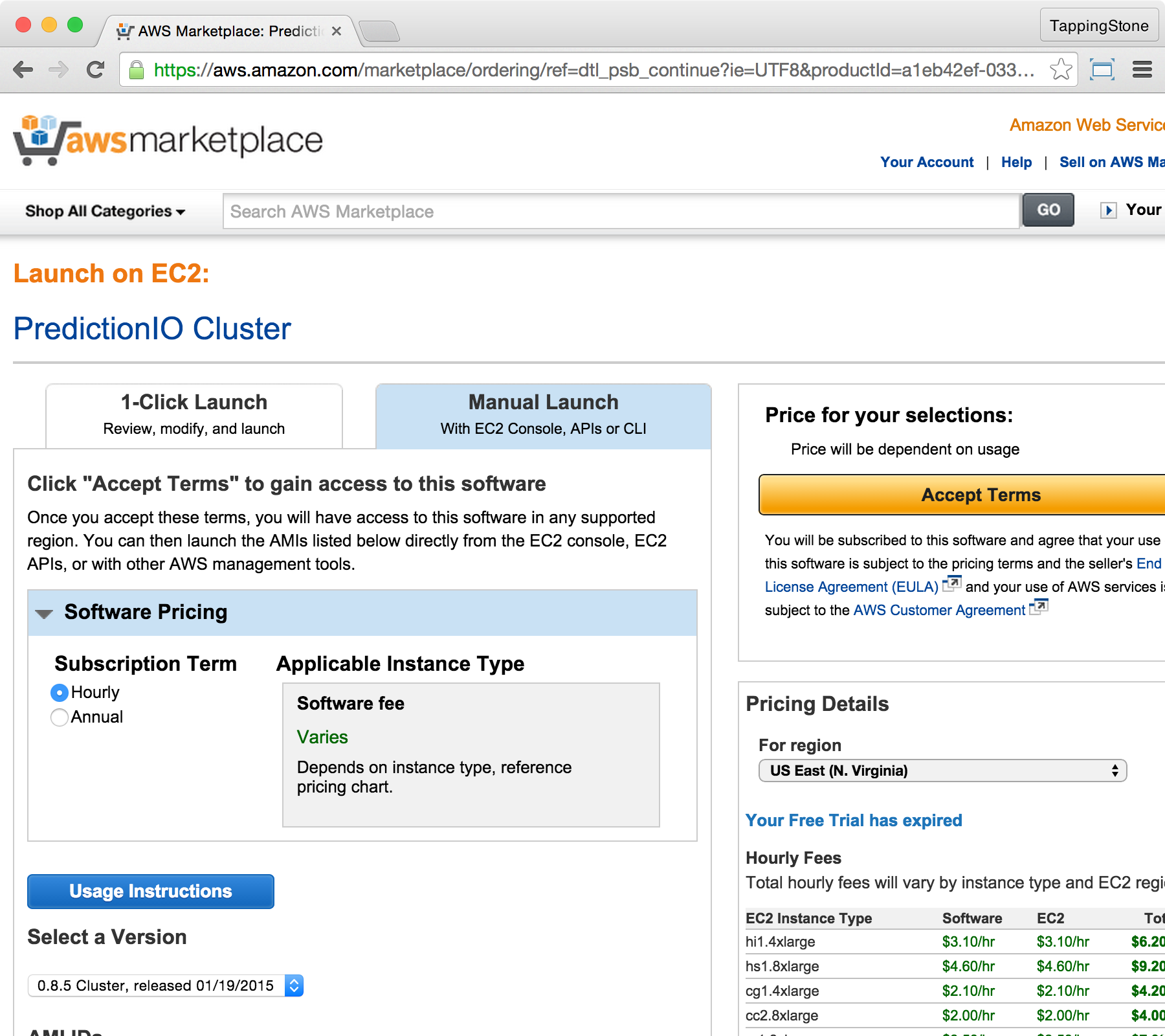AWS Marketplace Term Page